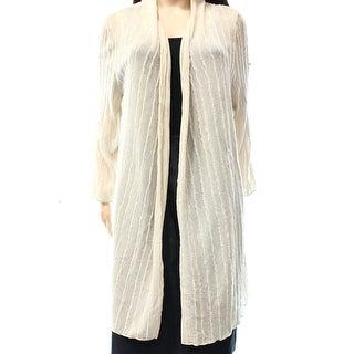 JM Collection NEW Beige Women's Size XL Textured Open Cardigan Sweater