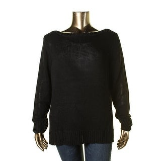 Lauren Ralph Lauren Womens Plus Pullover Sweater Knit Ribbed Trim