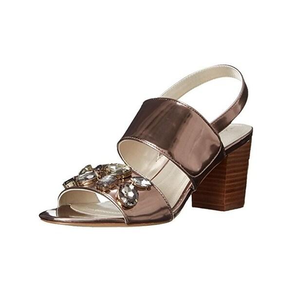 Tahari Womens Allie Evening Sandals Metallic Stacked - 9.5 medium (b,m)