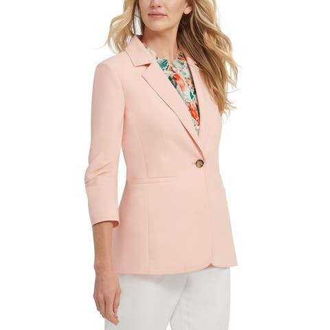 DKNY Womens One-Button Blazer Ruched 3/4 Sleeve - Coral