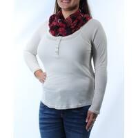 Womens Cream Long Sleeve Jewel Neck Casual Tunic Top  Size  XL