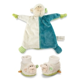 Plush Lamb Blanket and Rattling Baby Booties