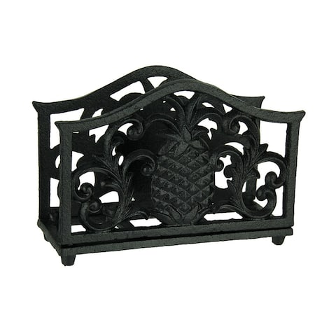 Black Tropical Pineapple Cast Iron Napkin Holder - 6.5 X 4.75 X 2.5 inches