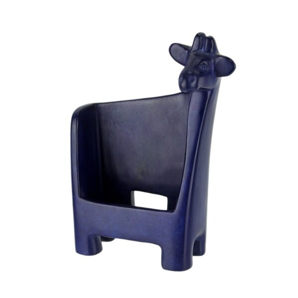 Blue Hand Carved Natural Stone Giraffe Cell Phone Holder - 7.5 X 5.5 X 2 inches
