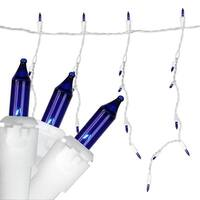 Set of 150 Heavy-Duty Commercial Grade Blue Icicle Lights - White Wire Connect 6