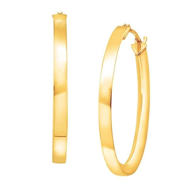 "Eternity Gold Triangle Tube Hoop Earrings in 10K Gold (1"" Diameter)"
