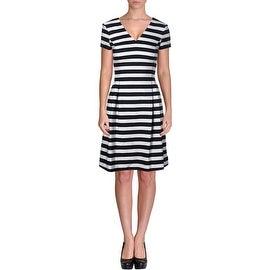 BOSS Hugo Boss Womens Striped V-Neck Wear to Work Dress