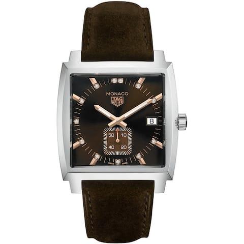 Tag Heuer Women's WAW131C.FC6419 'Monaco' Brown Leather Watch