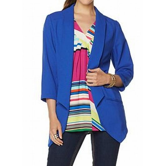 Melissa McCarthy Seven7 NEW Blue Womens Size M Open Front Blazer   Free  Shipping On Orders Over $45   Overstock.com   25682163