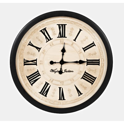 Wayland Jackson Engraved Solid Wood Cream 24-inch Clock by Jofran