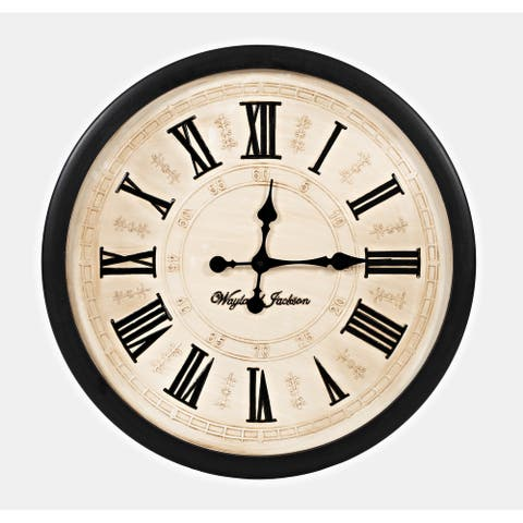 Wayland Jackson Engraved Solid Wood Cream 30-inch Clock by Jofran