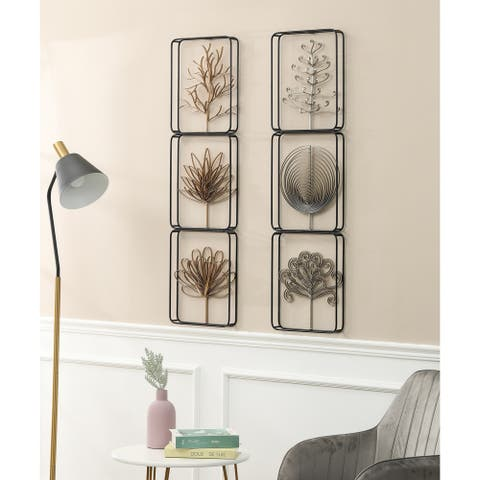 Set of Two Modern Nature 42in. H Metal Wall Panels