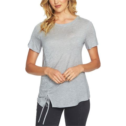 1.State Womens Cinched Asymmetrical-Hem Basic T-Shirt
