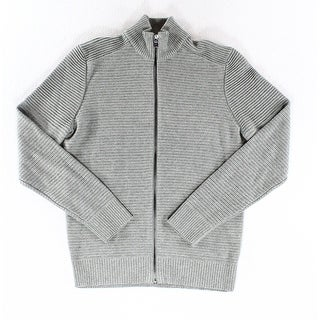 INC NEW Solid Heather Gray Mens Size Small S Ribbed Full Zip Sweater