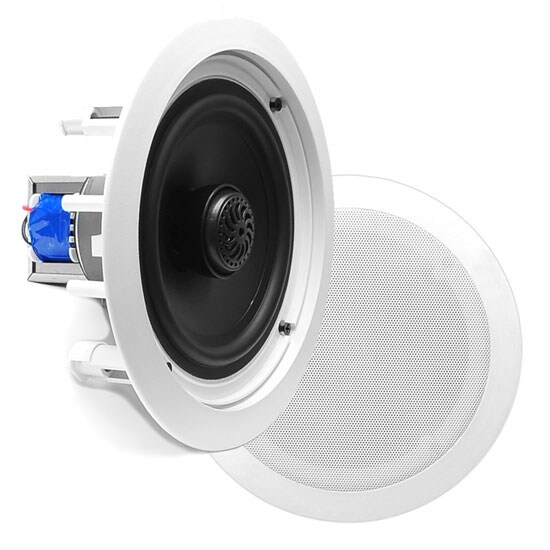 In-Wall / In-Ceiling Dual 8-inch Speaker System, 70V Transformer, 2-Way, Flush Mount, White