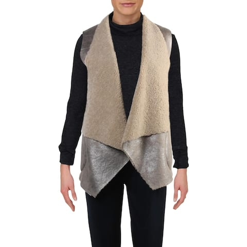French Connection Womens Vest Shearling Open Front - Silver