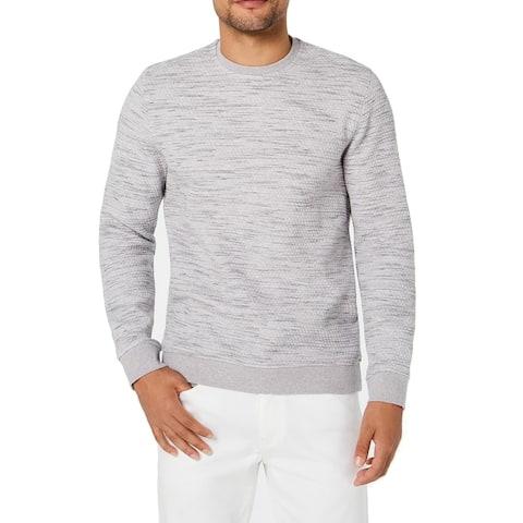 Alfani Mens Sweater Heather Gray Sz 2XL Honeycomb Knit Spacedye Crewneck