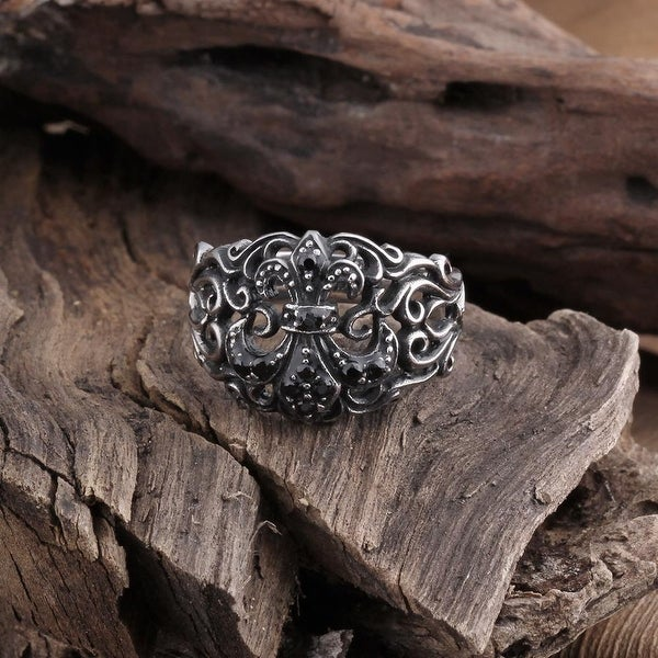 Vienna Jewelry Stainless Steel Hollow Design Ring