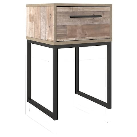 Single Drawer Wooden Nightstand with Grain Details, Washed Brown and Black