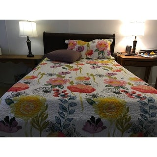 Greenland Home Watercolor Dream Oversized Reversible 3-piece Cotton Quilt Set