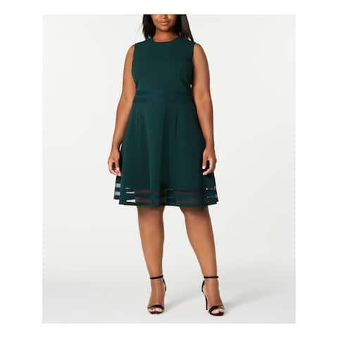 CALVIN KLEIN Green Sleeveless Knee Length Fit + Flare Dress Size 16W