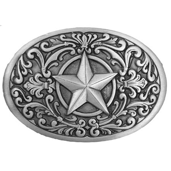 Western Star Silver Tone Belt Buckle - One size