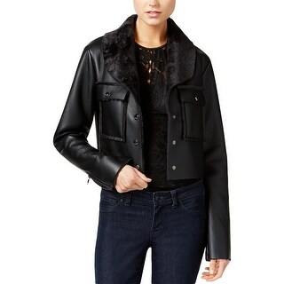 Guess Womens Bomber Jacket Faux Leather Faux Fur