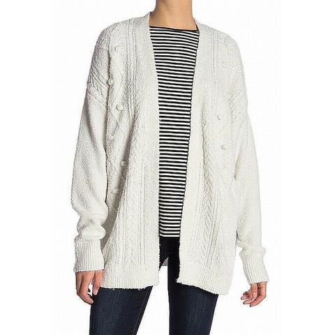 14th & Union White Women's Size Small S Cable Knit Long Cardigan