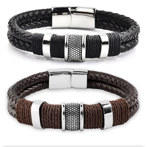 Men's Stainless Steel Woven Leather Bracelet - 8.5 Inches