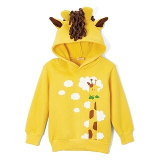 Doodle Pants Toddler Giraffe Hoodie - Children's Kid's Hooded Sweatshirt -Yellow