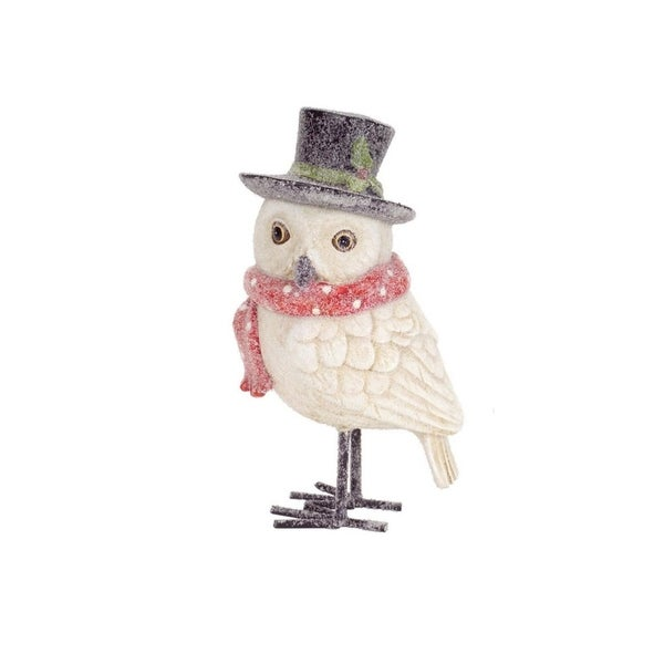 "8"" Frosted White Owl with Red Scarf and Top Hat Christmas Decoration"
