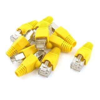 10 Pcs RJ45 8P8C Modular Plug Connector Yellow Boots Protectors Cover Set