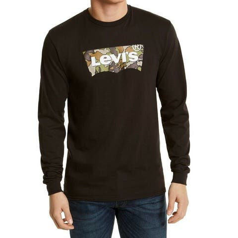 Levi's Mens Shirt Black Size Medium M Graphic Longsleeve Camo Crew