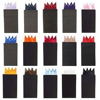 Men's Solid Color 4 Point Pre Folded Silk Pocket Squares on Card