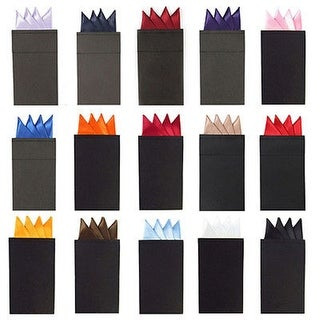 Men's Solid Color 4 Point Pre Folded Silk Pocket Squares on Card