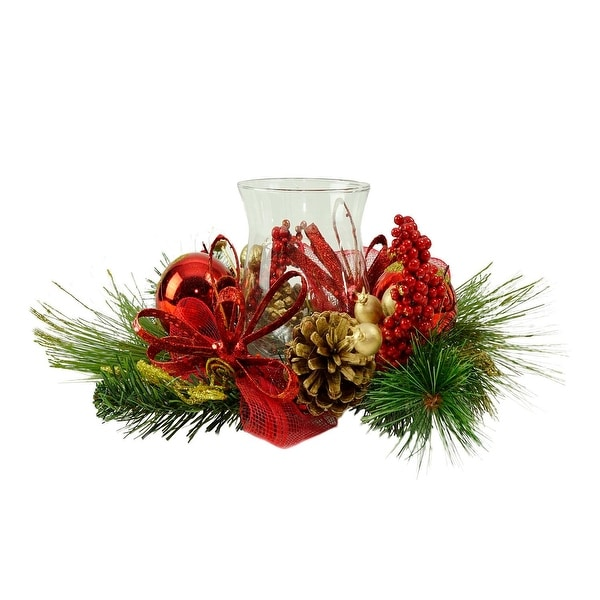 """16"""" Red Ornament and Berry Gold Glittered Christmas Hurricane Pillar Candle Holder"""
