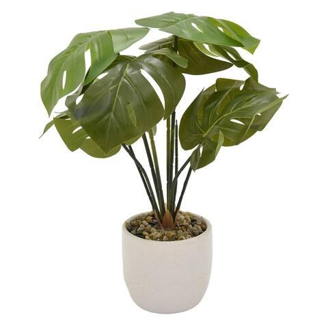 Plutus Brands Faux Greenery In Flower Pot in Green Porcelain - 19