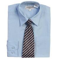 Light Blue Button Up Dress Shirt Striped Tie Set Toddler Boys 2T-4T