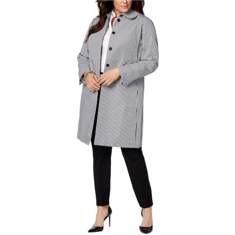 Anne Klein Womens Gingham Coat, Black, 16W