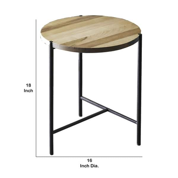 Round Wood And Metal Frame End Table With Tubular Legs Brown And Black Overstock 32431529