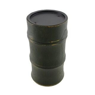 Dark Green Wooden Bamboo Pillar Candle Holder