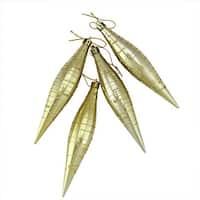 Gold Glitter Striped Shatterproof Christmas Drop Finial Ornament -