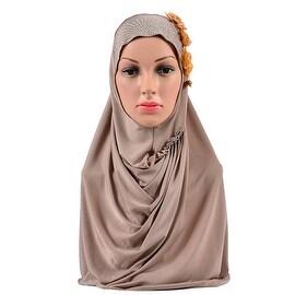 Muslim Flower Zicron Scarf Kerchief Hat khaki