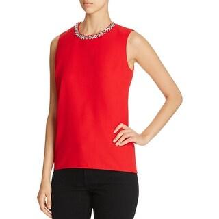 Calvin Klein Womens Blouse Embellished Sleeveless