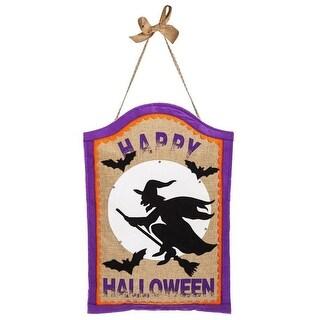 """Evergreen 2DHB1087BL Happy Halloween Door Decor, Tan, 19"""" H"""