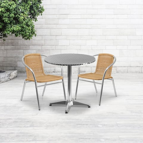 """27.5"""" Round Aluminum Indoor-Outdoor Table Set with 2 Beige Rattan Chairs - 27.5""""W x 27.5""""D x 27.5""""H"""
