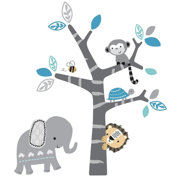 Bedtime Originals Jungle Fun Gray/Blue Safari Elephant, Lion, and Monkey Tree Wall Decals