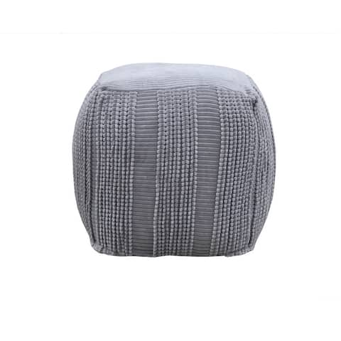Chic Home Dimas Ottoman Cotton Upholstered Woven Bands Square Pouf