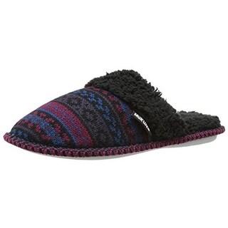 Muk Luks Womens Fair Isle Knit Scuff Slippers