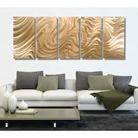 Statements2000 Extra Large Light Copper Modern Abstract Metal Wall Art Painting by Jon Allen - Copper Hypnotic Sands XL